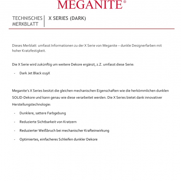 MEGANITE® - Merkblatt X Series